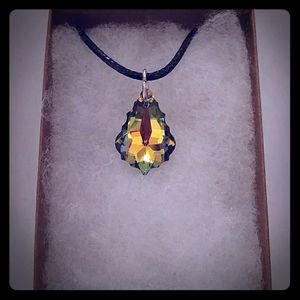 Summer Green Crystal Pear Necklace